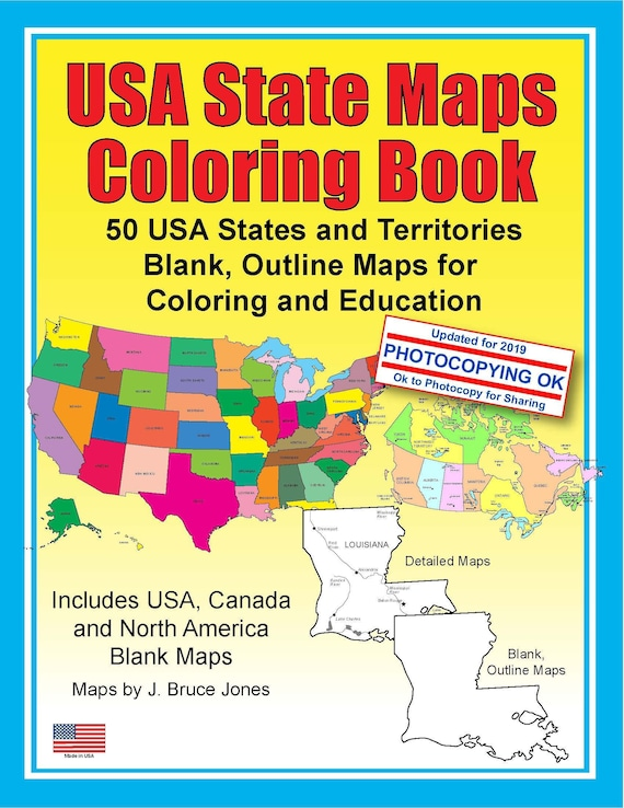 USA State Maps Coloring Book: 50 USA States and Territories, PDF Map  Coloring Book, Blank, Outline Maps, Homeschool and Education