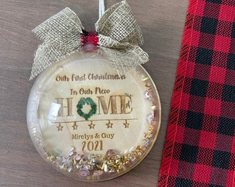 Our first christmas in our new home snow globe Ornament| Christmas Gift for him and her | Christmas Ornament