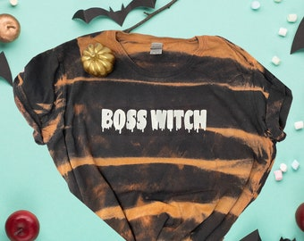 Boss Witch Tshirt | Halloween T-shirt | Bleached Shirt for Him and Her