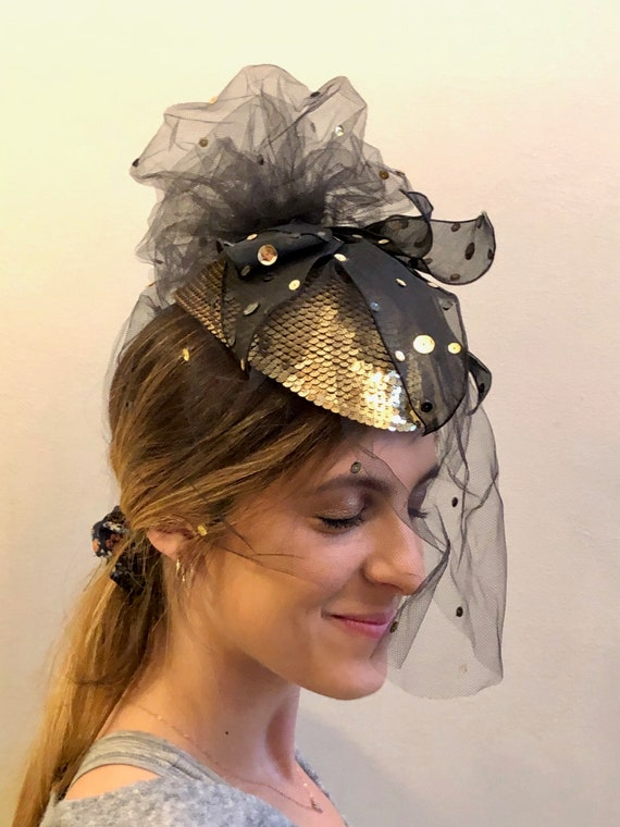 Whittall & Shon Vintage Fascinator Hat in Gold and