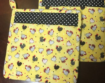 Daisies pocketed potholders homemade pot holders