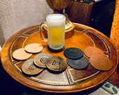 Personalized Leather Coasters - monogram - gift for him - gift for her - groomsmen gift - wedding gift - Man Cave