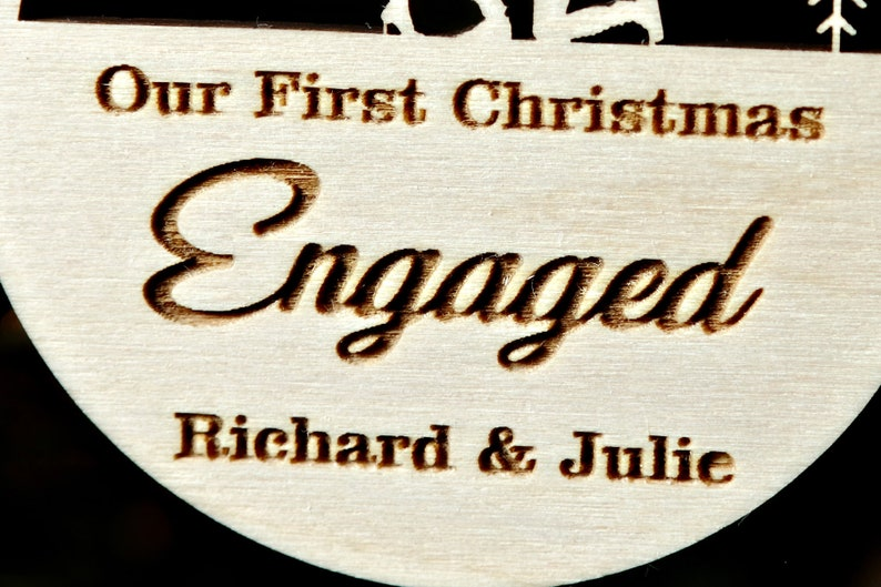 Our First Christmas Engaged Engagement ornament Keepsake Personalized classic gift couple gift custom Engagement