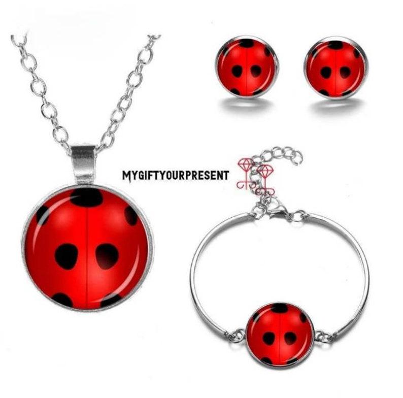 Bracelet set earrings and Ladybug necklace