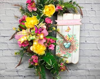 Spring Door Hanger, Hello Spring Wreath for Front Door, Pink Azalea Wreath, Mother's Day Wreath, Birthday Gift for Mom, Floral Oval Wreath