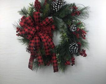 Buffalo Check Winter Wreath for Front Door, Rustic Buffalo Check Door Hanger, Red and Black Buffalo Check Wreath for Front Porch or Patio