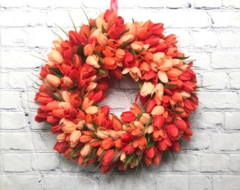 Coral and Red Mini Tulip Wreath, Mothers Day Gift, Easter and Spring Décor, Everyday Door Hanger, Wedding Wreath, Summer Door Wreath
