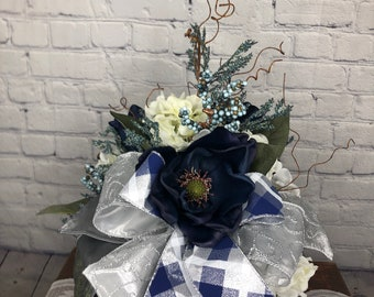 Navy Blue Fall Pumpkin Centerpiece, Thanksgiving Table Top Centerpiece, Desk-Entry Way or Side Table Accent Arrangement, House Warming Gift