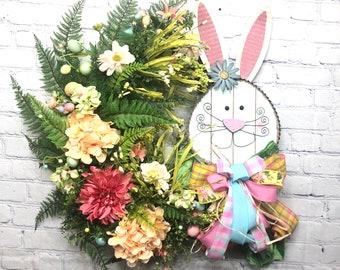 Easter Bunny Wreath, Easter Egg Décor, Spring Front Door Wreath, Spring Grapevine Front Door Décor, Spring Flowers Décor, Country Wreath
