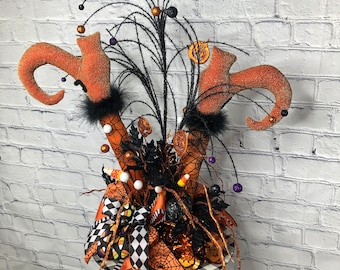 Halloween Table Witch Décor, Halloween Entry Way Witch Legs Decor, Halloween Whimsical Party Centerpiece, Back Porch Witch Legs Decoration
