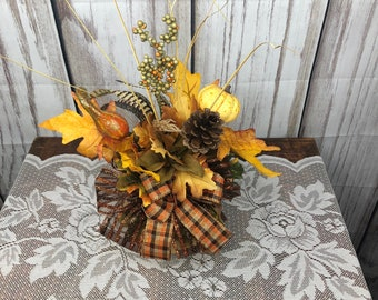 Fall Pumpkin Centerpiece, Thanksgiving Table Top Centerpiece, Pumpkin Desk or Entry Way Side Table Accent Arrangement, Fall Teachers Gift