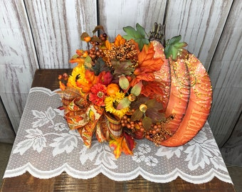Fall Pumpkin Centerpiece, Thanksgiving Wall Hanger, Pumpkin Desk or Entry Way Side Table Accent Arrangement, Fall Teachers Gift