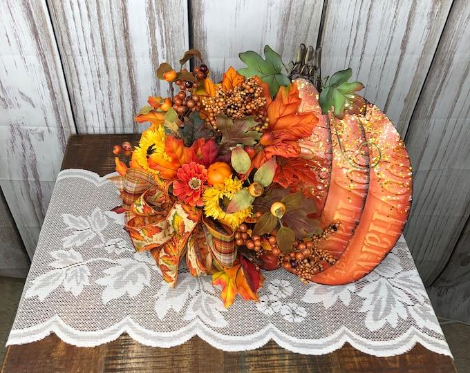 Fall Pumpkin Centerpiece, Thanksgiving Wall Hanger, Pumpkin Desk or Entry Way Side Table Accent Arrangement, Fall Teachers Gift