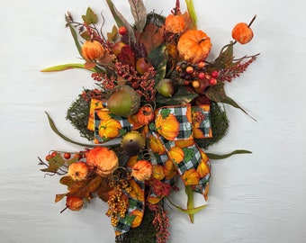 Moss and Grapevine Cross with Fall Acorn, Berries and Leaf Stems Wall Hanger, Buffalo Plaid and Velvet Pumpkin Cross, Religious Fall Decor