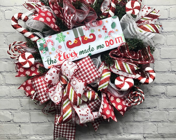The Elves Made Me Do It Wreath, Elf Door Hanger For Front Entry, Christmas Front Door Wreath, Whimsical Holiday Decorations for Back Porch