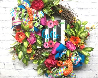 Summer Grapevine, Wreath, Front Door Wreath, Housewarming Wreath, Summer Décor, Hello Summer Wreath, Colorful Wreath, Summer Door Wreath