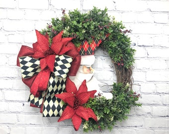 Crescent Moon Santa Wreath, Santa Moon Décor, Christmas Santa Moon, MacKenzie-Childs Ribbon, Christmas Moon Wreath, Front Door Wreath