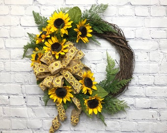 Farmhouse Yellow Sunflower Door Wreath, Burlap Summer Sunflower Wreath, Fall Wildflower Door Wreath, Harvest Sunflower Grapevine Door Hanger