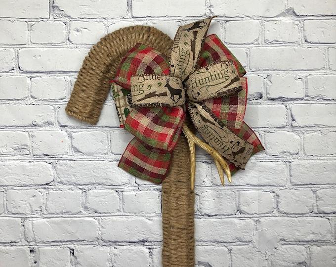 Hunting Camp or Lodge Wreath, Deer Antler Door Hanger, Winter Wreath, Candy Cane Deco, Storm Door Christmas Wreath