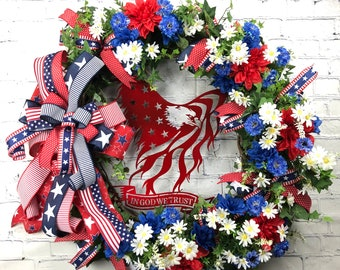 Patriotic Front Door, Corporate Office Wreath, July 4th Theme, Patriotic Wall Decor, Red White Blue, Summer Door Wreath, Veterans Day Wreath