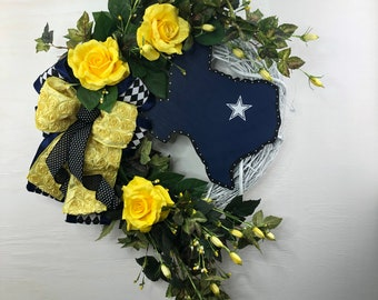 Texas State Yellow Rose Wreath for Front Door, State Flower of Texas Door Hanger for Porch or Patio, Texas Spring Wreath for Wedding Gift