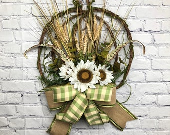 Country Fall Wreath, Farmhouse Fall Décor, Primitive Fall Décor, Rustic Pumpkin Décor, Sunflower Decor, Fall Autumn Wreath, Fall Door Hanger