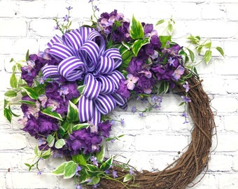 Purple Hydrangea Farmhouse Wreath, Summer and Spring Hydrangea Wreath for Porch, Purple Theme Bridal and Baby Shower, Mother's Gift