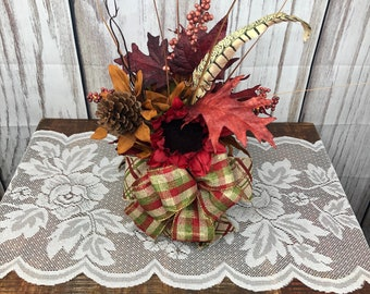 Fall Pumpkin Centerpiece, Thanksgiving Table Top Centerpiece, Sunflower Desk or Entry Way Side Table Accent Arrangement, Fall Teachers Gift