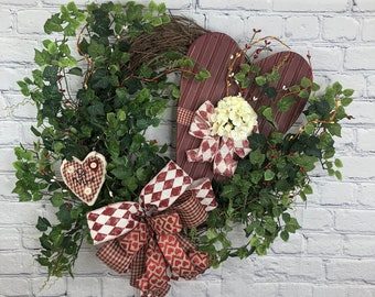 Valentine Heart Wreath, Valentine Wreath for Front Door, Vintage Hearth Wreath, Rustic Valentine Gift for Her, Farm House Valentine Wreath