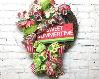 Summer Watermelon Wreath, Summer Door Wreath, Red Lime Green, Farm House Wreath, Sweet Summertime Door Hanger, Watermelon Porch Wreath