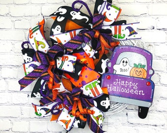 Halloween Décor, Halloween Front Door, Halloween Grapevine, Halloween Wall Décor, Happy Halloween, Orange Black Wreath, Trick or Treat
