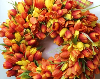 Wreath & Door Hanger, Tulip Wreath, Spring Wreath, Gift for Mom, Mothers Day Gift, Mothers Day, Spring Wreath, Orange and Yellow Wreath
