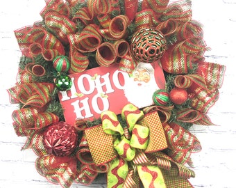 Santa Claus Wreath, Ho Ho Ho Wreath, Christmas Wreath, Holiday Décor, Santa Décor, Red Green Christmas, Christmas Mesh, Porch Decor