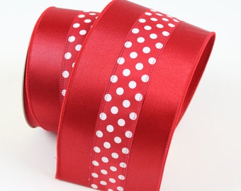 "Solid Red with White Mini Polka Dots Thick Satin, Sleek Satin Red Ribbon for Wreaths and Crafts, 4"" X 10 Yards or 5 Yards Luxury Ribbon"