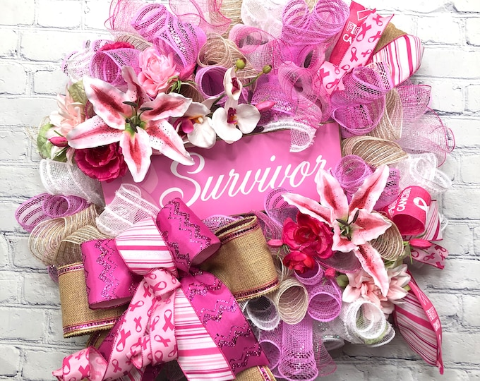 Breast Cancer Awareness Wreath, Breast Cancer Survivor Door Decor, Breast Cancer Survivor Gift, Pink Ribbon Support Front Door Wreath