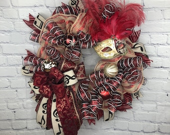 Mardi Gras Wreath, Unique Mardi Gras, Fat Tuesday Wreath, Masquerade Wreath, Jester Mask Wreath, Musical Note Wreath, New Orleans Wreath