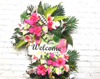 Tropical Welcome Décor, Luau Bridal Shower Décor, Summer Door Wreath, Luau Pool Party Decor, Hawaiian Floral Wreath, Luau Beach Party Decor