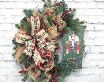 Nutcracker Wreath, Red Green Christmas Wreath, Soldier Wreath, Winter Porch Décor, Holiday Wreath, Rustic Christmas, Winter Door Wreath