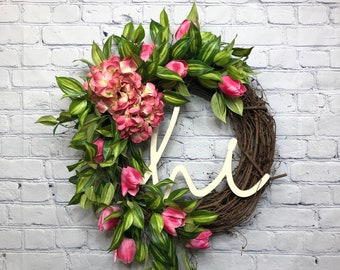 Pink Tulip and Hydrangea Summer Wreath, Welcome Wreath for Baby and Wedding Shower, Farmhouse Pink Flower Front Door Décor, Mother's Day