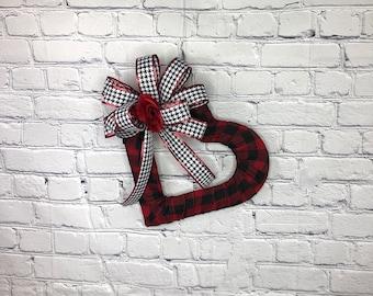 Valentine Heart Wreath, Valentine Wreath for Front Door, Buffalo Plaid Hearth Wreath, Valentine Gift for Her or Him, Valentine's Day Decor