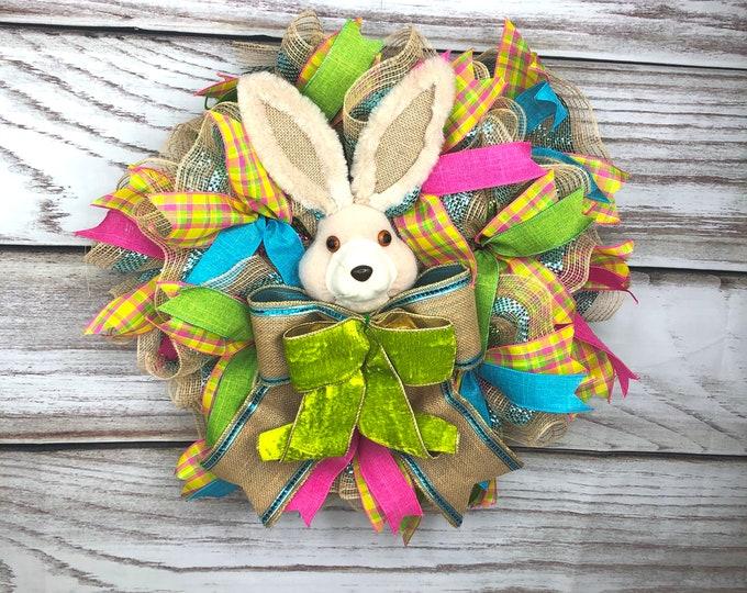 Easter Bunny Door Hanger, Easter Bunny Wreath, Easter Spring Wreath, Spring Wreath For Front Door, Front Door Thin Easter Wreath