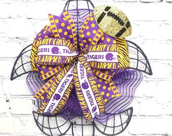 Tiger Fans Front Door Decor, LSU Fans Front Porch Football Party Decor, Fleur de Lis and Tiger Game Day Decor, Purple and Gold Football