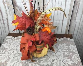 Fall Pumpkin Centerpiece, Thanksgiving Table Top Centerpiece, Pumpkin Desk or Entry Way Side Table Accent Arrangement, Fall Teachers Gift