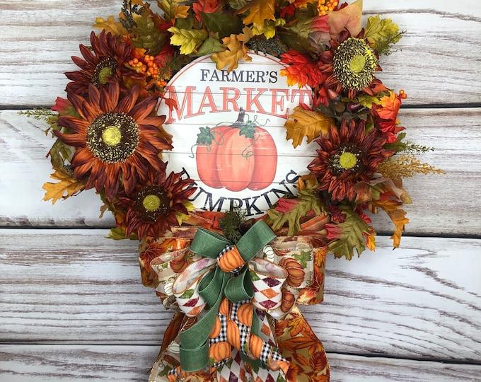 Farm House Wreath, Fall Farmers Market, Autumn Door Hanger, Pumpkin Grapevine, Country Sunflower Rustic Fall Decor, Thanksgiving Wreath