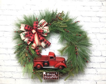 "Red Truck Farmhouse Christmas Wreath For Front Door, Evergreen Wreath for Front Porch, Rustic Country Holiday Christmas Décor, 27"" High"