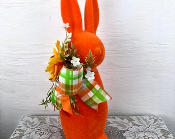 "Flocked 16"" Easter Bunny Spring Decor, Bunnies for Centerpiece, Colorful Easter Bunnies, Button Nose Bunnies, Unique Spring Decoration"