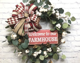 Farmhouse Décor with Cotton, Welcome To Our Farmhouse Wreath, Country  Cotton Door Wreath, Farmhouse Style Décor, Rustic Door Hanger