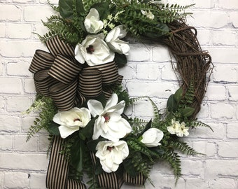 Magnolia Wreath for Front Door, Southern Wreath Door Hanger, Summer Magnolia Wreath, Farm House Wreath, Southern Charm Wreath