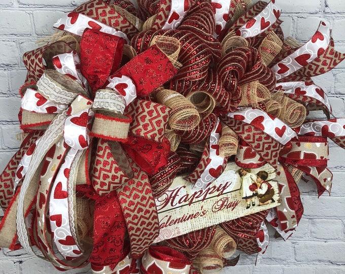 Valentine Vintage Wreath, Valentine Wreath for Front Door, Rustic Valentine Gift for Her, Farm House Valentine Wreath, Valentine Mesh Wreath
