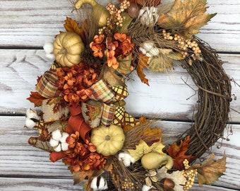 Farm House Wreath, Country Fall Decor, Fall Pumpkin Décor, Rustic Pumpkin Door Hanger, Thanksgiving Wreath, Rustic Porch Décor, Autumn Decor
